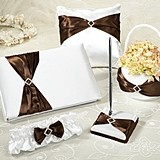 Brown Sash on Cream Wedding Accessories Set by Lillian Rose