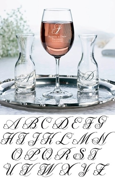 Personalized Wine Glass & Carafes Ceremony Set with Heart Monogram