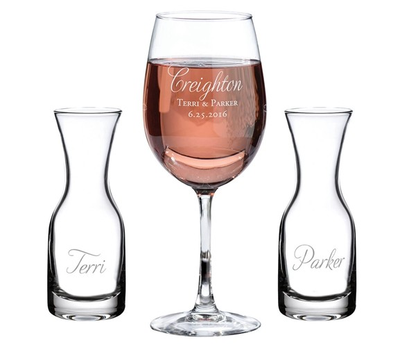 Personalized Wine Glass & Carafes Ceremony Set with Script Last Name