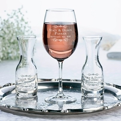 Personalized Wine Glass & Carafes Ceremony Set with Scrolls and Names