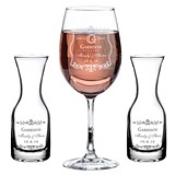 Personalized Vineyard Motif Wine Glass & Carafes Wine Ceremony Set