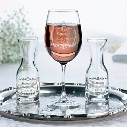 Personalized Vineyard Motif Wine Glass & Carafes Wine Ceremony Set