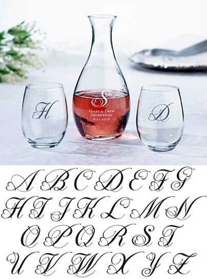 Personalized Decanter and Stemless Wine Glasses with Heart Monogram