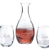 Personalized Decanter and Stemless Wine Glasses with Script Last Name