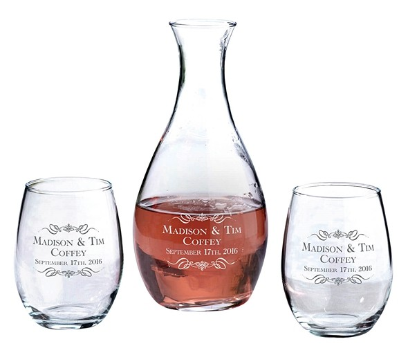 Personalized Decanter and Stemless Wine Glasses with Scrolls and Names