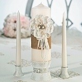 Lillian Rose Burlap and Lace Pillar Unity Candle and Two Tapers Set