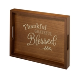 Lillian Rose Wooden Tray with 'Thankful, Grateful, Blessed' Verse