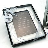 """Double Ring Romance"" Brushed-Metal Photo Frame Favor"