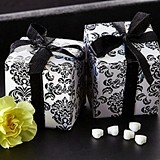 Classic Damask Favor Boxes in Black and White (24 Pack)