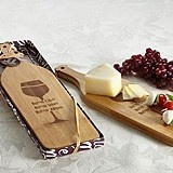 """Buoni Amici"" Wine-Bottle Shaped Bamboo Cheese Serving Board"