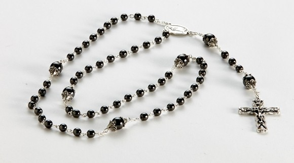Artisano Designs 'Blessings' Rosary Necklace with Hematite Beads