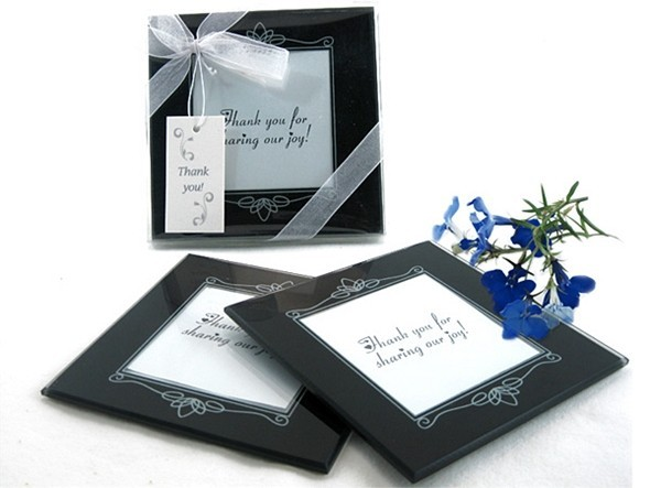 Memories Forever Glass Photo Coasters in Black (Set of 2)