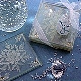Snowflake Design Frosted Glass Coasters (Set Of 2)