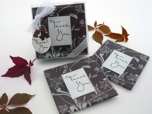 Falling Leaves Leaf Themed Glass Photo Coasters (Set of 2)