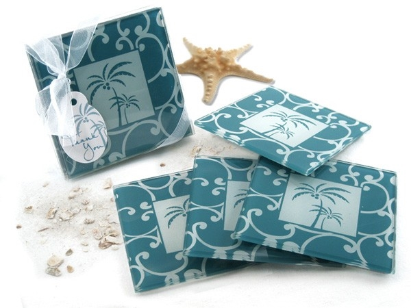 Artisano Designs 'Tropical Breeze' Palm Tree Glass Coasters (Set of 4)