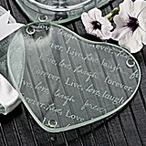 Live Love Laugh Forever Heart Glass Coasters (Set of 2)