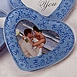 Artisano Designs True in Blue Heart Glass Photo Coasters (Set of 2)
