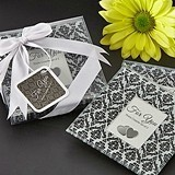 Classic Damask Glass Photo Coasters/Place Card Holders (Set of 2)