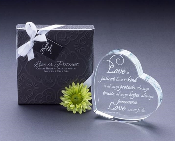 Heart-Shaped Laser Etched Crystal Gift/Cake Topper | Personalized Gifts and Party Favors