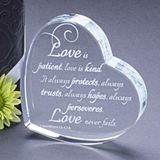 Heart-Shaped Laser-Etched 'Love Is Patient' Crystal Gift/Cake Topper