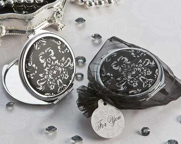 Artisano Designs Diva in Damask Black and White Compact Mirror