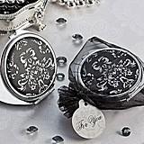 Artisano Designs Diva in Damask Black and White Compact Mirror