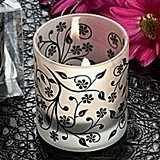 Frosted Elegance Black and White Tea Light Candle Holder (Set of 4)