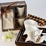 Contemporary Design Espresso Cups and Biscotti Plates (Pack of 2 Sets)