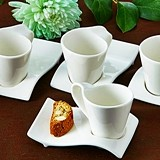 Swish Espresso Cups and Biscotti Plates Set (Pack of 4 Sets)
