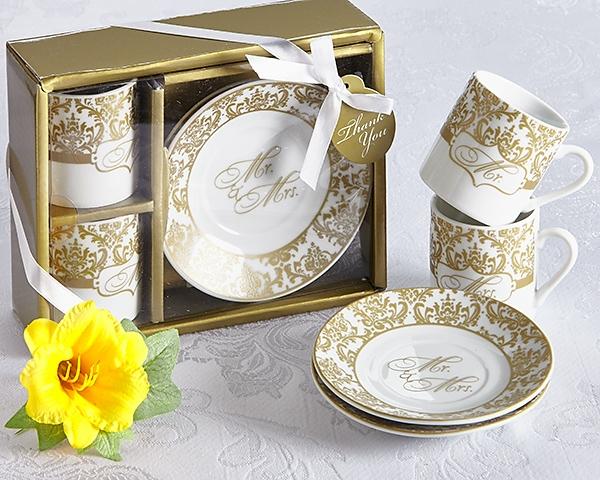 "Artisano Designs ""Mr & Mrs"" Espresso Coffee Cup Set in Gold"