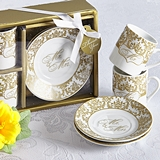 "Artisano Designs ""Mr & Mrs"" Espresso Coffee Cup Set in Gold"