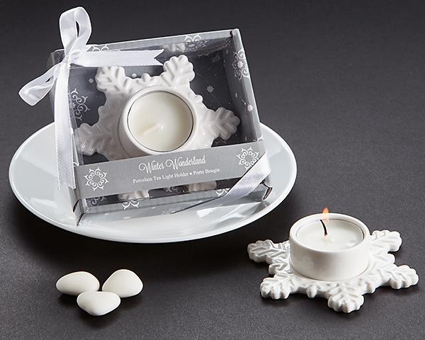 """""""Winter Wonderland"""" Porcelain Tea Light Candle Holder"""