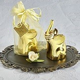 Gold-Electroplated Lucky Elephant Figurines/Ring Holders (Set of 4)