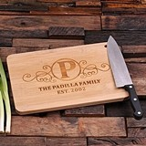 Personalized Bamboo Cutting Board Engraved with Initial & Custom Text