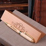 Personalized Wood Desktop Pen Set with Clever Internal Holder