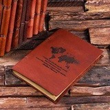 Personalized Leather Notebook/Journal with World Map Design