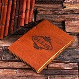 Personalized Leather Notebook/Journal with Oval Flourish Motif