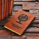 Personalized Leather Notebook/Journal with Stylized Globe Design