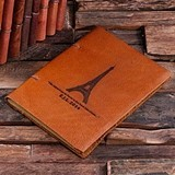 Engraved Paris Eiffel Tower Design Leather Notebook/Journal/Guest Book