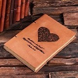 Personalized Butterfly Heart Motif Leather Notebook/Journal/Guest Book