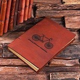 Personalized Vintage Bicycle Motif Leather Notebook/Journal/Guest Book