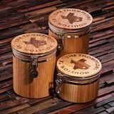 Personalized Bamboo-Wood Canister Set with Engraved State Outline
