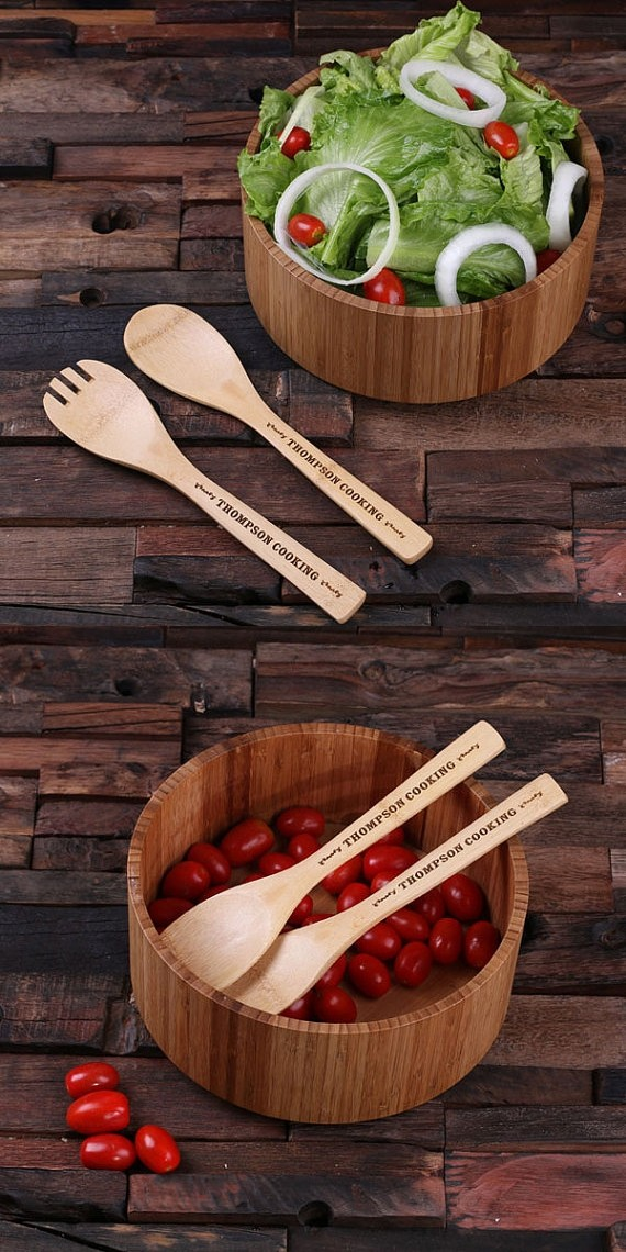 3-Piece Gift-Set Bamboo-Wood Salad Bowl with Personalized Utensils