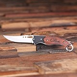Personalized Engraved Wood-Handled Stainless-Steel Pocket Knife
