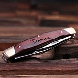 Personalized Dark-Wood-Handled Brass-Accented 3-Blade Pocket Knife