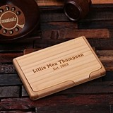 Personalized Engraved Bamboo-Wood Business Card Holder