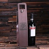 Personalized Vegan Leather Single Wine Bottle Holder (Black or Brown)