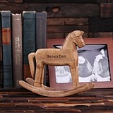 Personalized Miniature Wooden Rocking Horse for Kid's Room