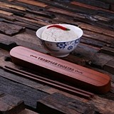 Personalized Bamboo-Wood Chopstick Holder with Chopsticks