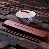 Personalized Bamboo-Wood Chopstick Holder with Chopsticks